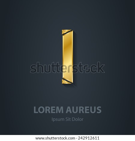 Letter I. Vector elegant gold font. Template for company logo. Metallic Design element or icon with shadow. - stock vector