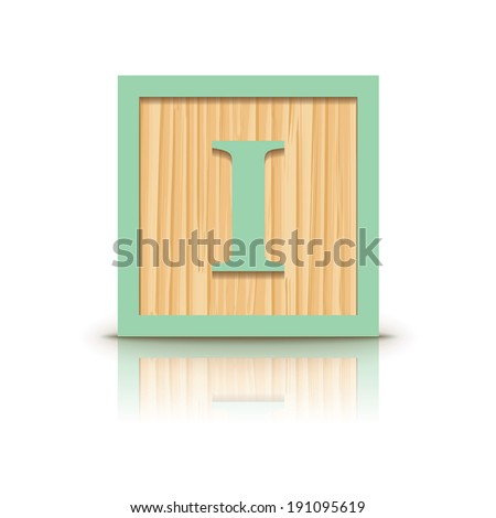 Letter I wooden alphabet block - vector illustration - stock vector