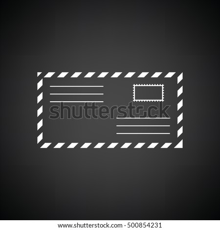 Letter icon. Black background with white. Vector illustration.