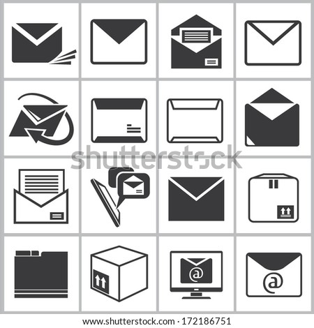 letter icons set, email icons set - stock vector