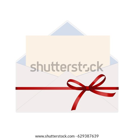 Letter envelope decorated red ribbon bow stock vector 551635750 letter in an envelope decorated with red ribbon bow envelope with clean card stopboris Choice Image