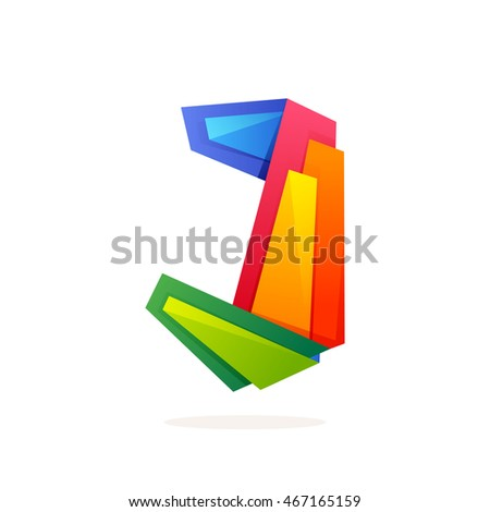 Letter J logo in low poly style. Multicolored vector design for presentation, web page, app icon, card, labels or posters.