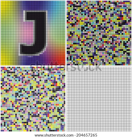 Letter J (mixed mosaic with empty cells) - stock vector