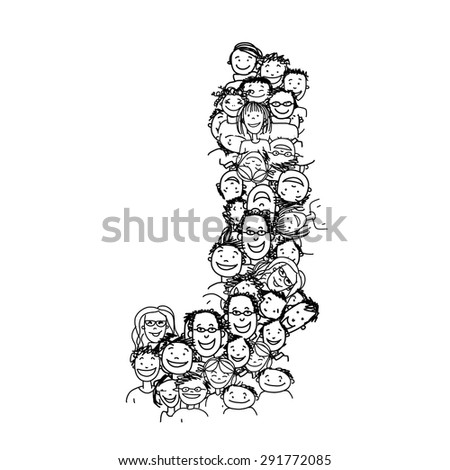 Letter J, people crowd, vector alphabet for your design - stock vector