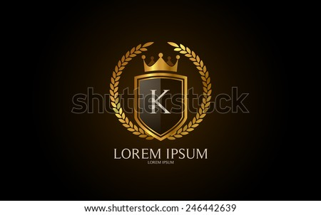 Letter K crest logo. Alphabet logotype vector design. - stock vector