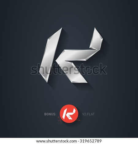 Letter K, Vector silver font. Elegant Template for company logo. Metallic Design element or icon. Pseudo origami style, including flat version. - stock vector