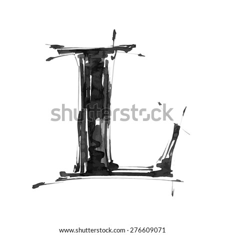 letter L. Alphabet symbol - grunge hand draw paint / vector illustration - stock vector