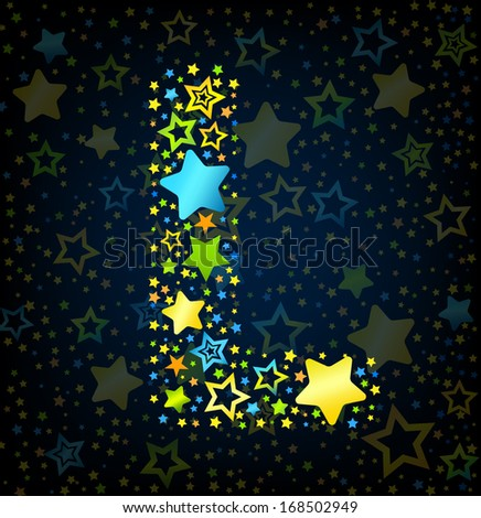 Letter L cartoon kid style vector font with  colored  stars - stock vector