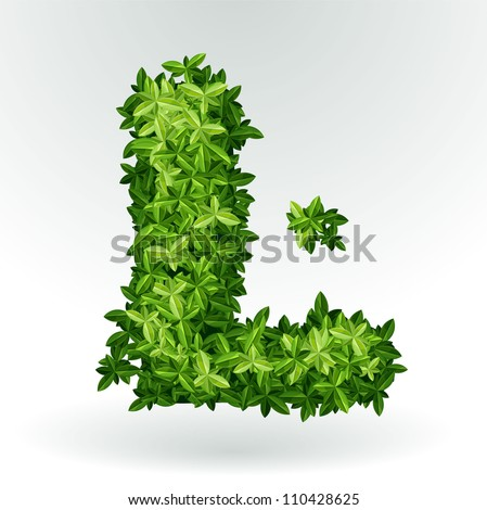Letter L , green leaves summer vector alphabet. - stock vector