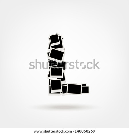 Letter L made from photo frames, insert your photos - stock vector