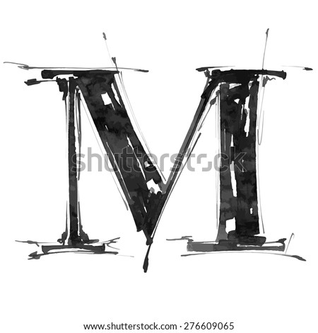 letter M. Alphabet symbol - grunge hand draw paint / vector illustration - stock vector