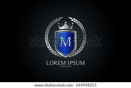 Letter M crest logo. Alphabet logotype vector design. - stock vector