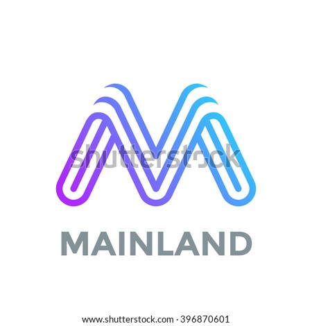 Letter M Logo design vector template. Font Lines Logotype - stock vector