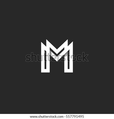 letter m logo letter m logo mm initials two stock vector 295908632 34129