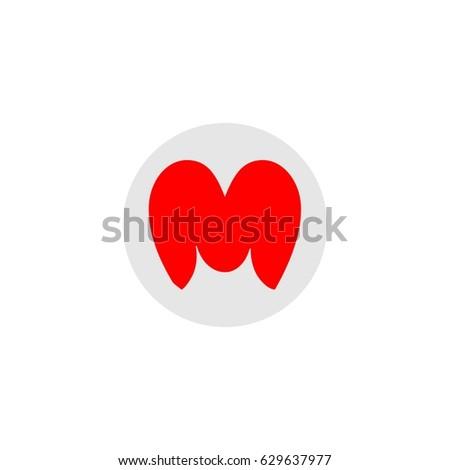Letter M Love Logo Vector