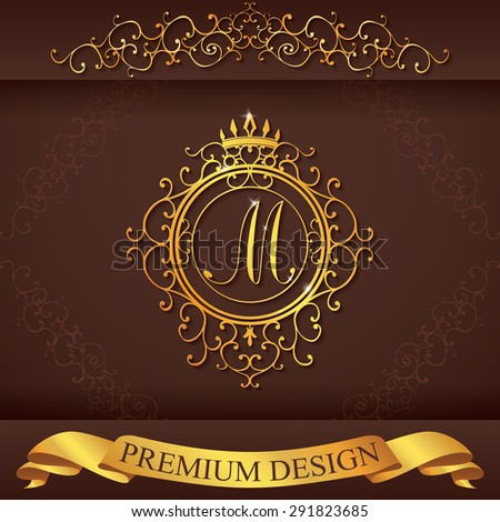Letter M. Luxury Logo template flourishes calligraphic elegant ornament lines. Business sign, identity for Restaurant, Royalty, Boutique, Hotel, Heraldic, Jewelry, Fashion, vector illustration. - stock vector