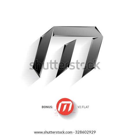 Letter M, Vector metal font. Elegant Template for company logo. Metallic Design element or icon. Pseudo origami style, including flat version. - stock vector