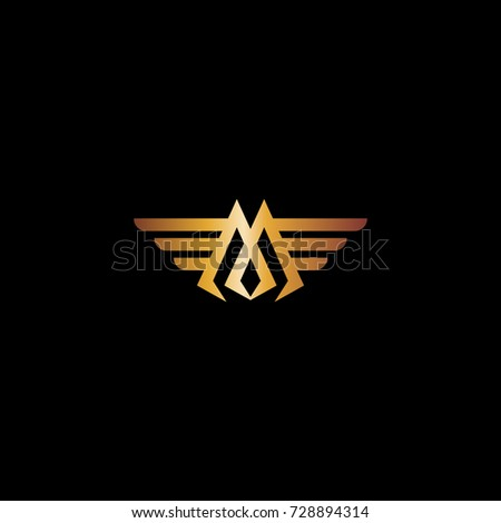 Letter M Wings Luxury Logo Design 스톡 벡터 728894314 ...