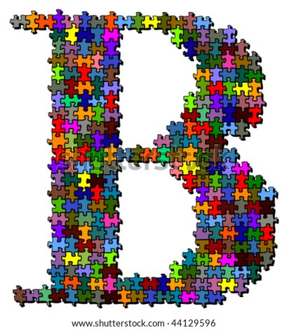 Letter made of colored puzzle pieces - vector illustration - stock vector