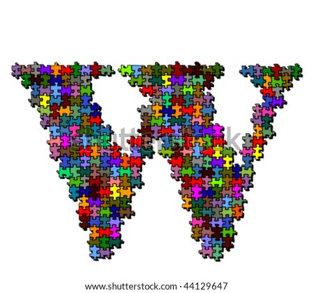 Letter made of colored puzzle pieces - vector illustration
