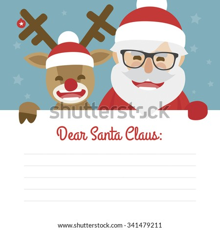 Letter merry christmas illustration of santa claus and red nosed reindeer on blue background. dear santa claus - stock vector