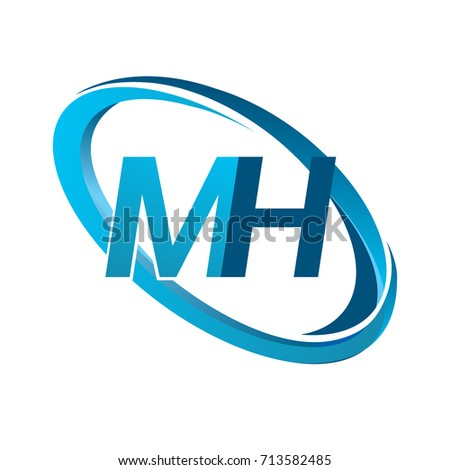 Stock Vector Letter Mh Logotype Design For Company Name Colored Blue Swoosh Logo Business And Monogram