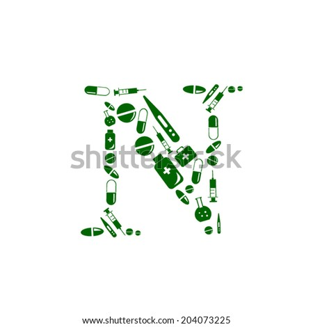 Letter N, alphabet of medicine pills - stock vector