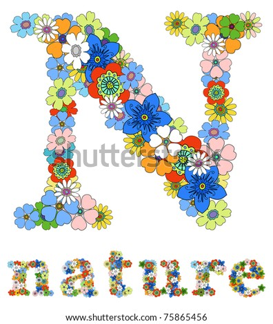 Letter N  and word nature floral; vector. - stock vector