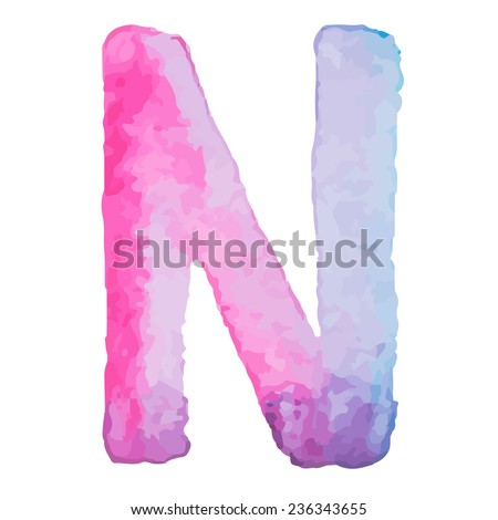 Letter N Colorful watercolor aquarelle font type handwritten hand draw doodle abc alphabet letters Vector illustration. - stock vector