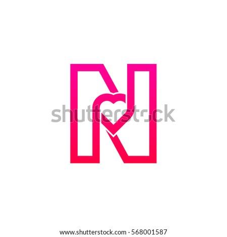 Wonderful Letter N Heart Logo Pink Color Valentine Day Stock Vector HD  YA32