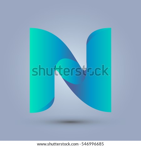 Letter N icon design and elegant typographic concept. gradient blue and green