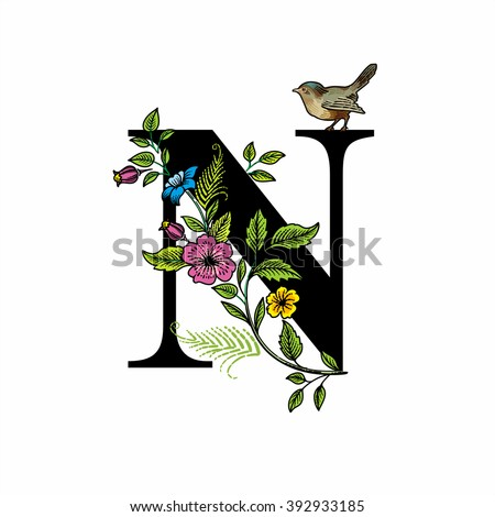 Letter N with flowers and bird, black on white background, vector