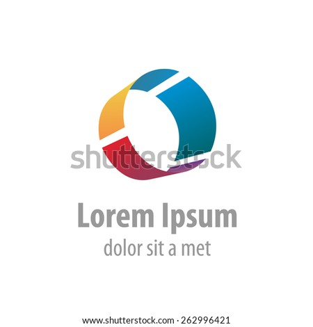 Letter O colorful industrial logo template. Pipe segment. - stock vector