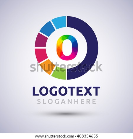 letter O colorful logo on circle. Vector design template elements for your application or company logo identity. - stock vector