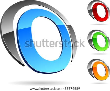 """Letter """"O""""  3d vector icons such logos. - stock vector"""
