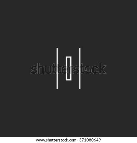 Letter O monogram logo, geometric thin line shape, mockup concept hipster emblem - stock vector