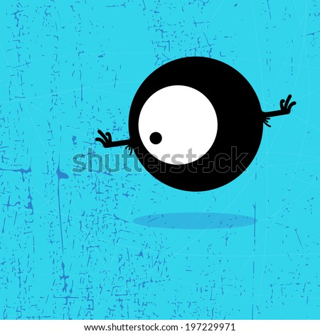 Letter o Monster on grunge background. vector illustration - stock vector
