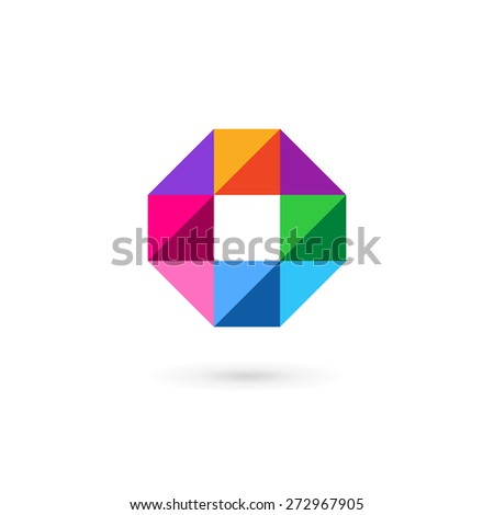 Letter O number 0 mosaic logo icon design template elements with cross and plus