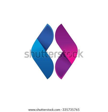 Letter O symbol, Abstract sphere leaf or wing reflect logo, volume vector icon design template element, double infinity loop logo design template. Beauty eye violet and blue concept. - stock vector