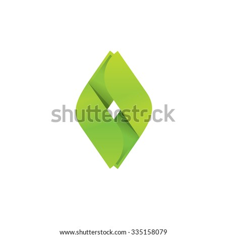 Letter O vector logo template. Grass diamond energy symbol green power fuel emblem. Natural ecology recycling business company symbol in paper style. Abstract ribbon for plant community, medical label - stock vector