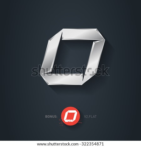 Letter O, Vector silver font. Elegant Template for company logo. Metallic Design element or icon. Pseudo origami style, including flat version. - stock vector