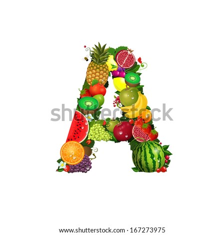 Letter of juicy fruit A - stock vector
