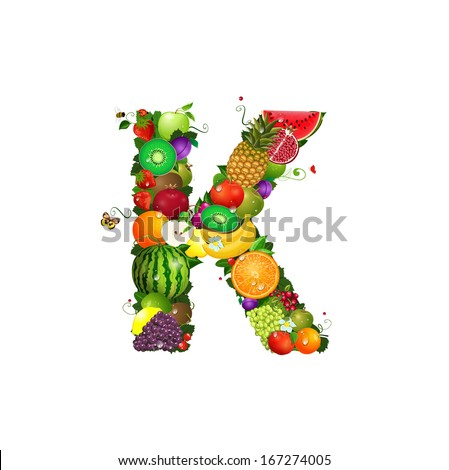Letter of juicy fruit K - stock vector