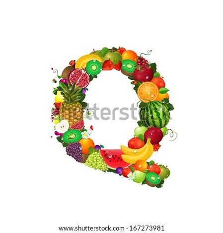 Letter of juicy fruit Q - stock vector