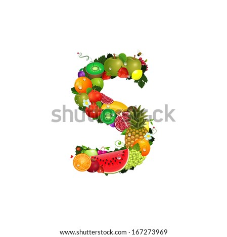 Letter of juicy fruit S - stock vector