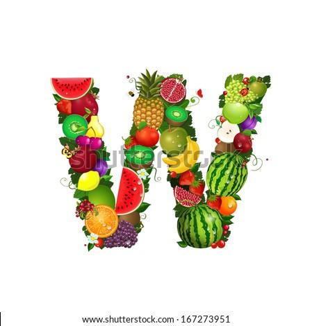 Letter of juicy fruit W - stock vector