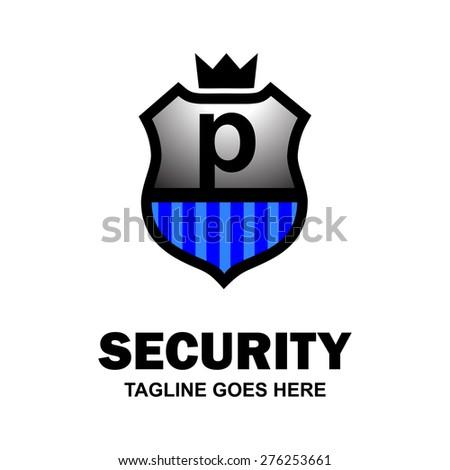 Letter p crest logo. Alphabet logotype vector design . heraldic shape shield . abstract symbol of security . Gray Blue Security Shield . vector illustration - stock vector