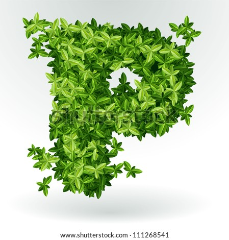 Letter P, green leaves summer vector alphabet. - stock vector