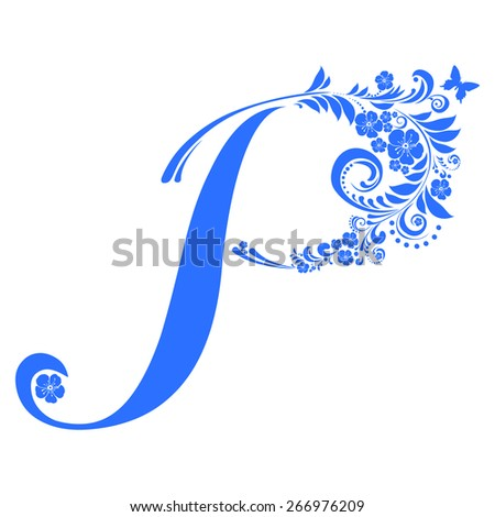 Letter P isolated on white. Romantic letter of beautiful flowers. Floral Alphabet. Vector Illustration - stock vector