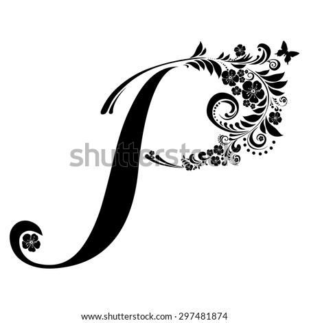 Letter P Isolated On White Romantic Of Beautiful Flowers Floral Alphabet Vector